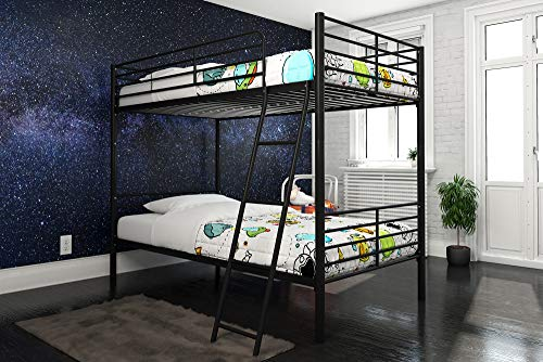 DHP Tailor Convertible Bunk bed, Converts to two Twin Beds, Twin-over-Twin, Black