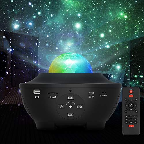 Vivibel Projektor Sternenhimmel LED Sternenlicht Lampe Wasserwellen Projektionslampe Ferngesteuerte Nachtlichter Farbwechsel Musikspieler mit Bluetooth Timer für Kinder Erwachsene Zimmer Dekoration