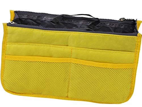 terryshop74 Organizer borsa donna Bag in Bag tanti scompartimenti con cerniera e manica trasporto (Giallo)