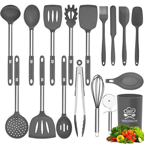Silicone Cooking Utensil Set, Taiker Kitchen Cooking Utensils Set, Non-stick & Heat Resistant Silicone Cookware, BPA Free Non-Toxic Cooking Utensils, Kitchen Tools (Gray)