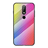 Grandcaser Nokia 6.1 Plus Étui,Ultra-Mince Advanced Fibre Carbone Texture Gradient Glass Box Coque...