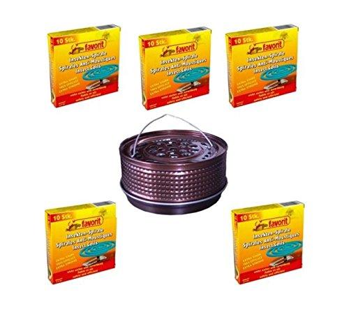 Hs24store 50 Insektenspiralen Anti Mücken Spirale und Metalltopf Metallhalter bronze