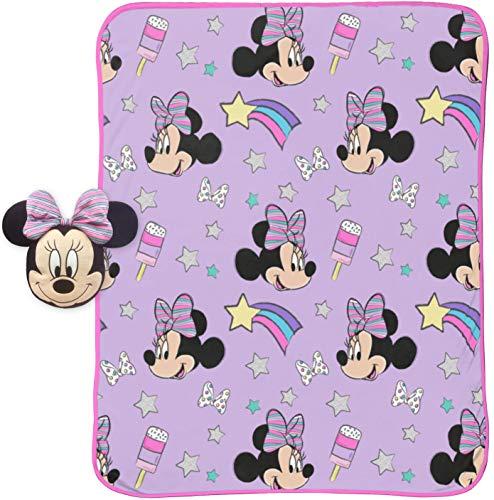 Jay Franco Disney Minnie Mouse Unicorn 40' x 50' Blanket, Kids Super Soft 2 Piece Nogginz Set (Official Disney Product)