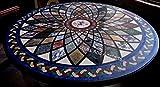Mesa de comedor redonda de mármol con incrustaciones de patrón floral Trabajo increíble mesa de pasillo de Indian Handicrafts 60 pulgadas