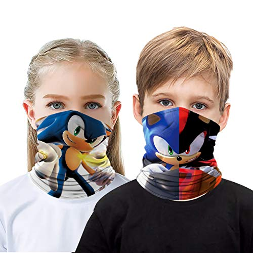 2 Pcs Sonic The Hedgehog Kids Face Scarf Face Mask Neck Gaiter Bandana Dust Mask Ice Silk Face Cover For Boy/Girl (Sonic F)