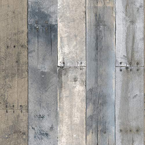 Tempaper HE10093 Herringbone - Papel pintado extraíble para pegar y despegar, Madera reciclada, 20.5' x 16.5', Multicolor