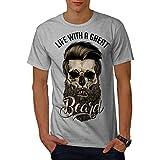Wellcoda La Vie avec Barbe Crâne Homme T-Shirt 0 T-Shirt imprimé avec Design Graphique