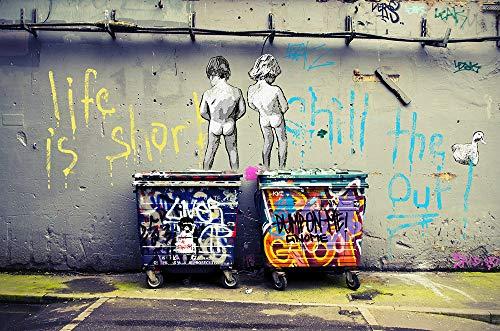 Orlco Art Graffiti Künstlerleinwand Gemälde Einstein Kunst Druck Straßenkunst Urbane Malerei Kunst Farbenfroh, canvas, Two T, 48
