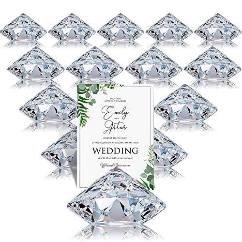 24 Paquete Clip de Coloca Tarjeta Titulares de Números de Mesa Con Clip de Arpa Soportes de Tarjeta de Mesa de Cristal Acrílico de Diamante para Fiesta Boda Decoración de Mesa (Claro)