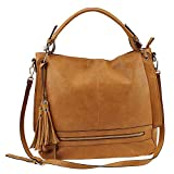 "The essential stow-and-go handbag! Luxe faux leather with trendy tassels and exterior zippered pockets Top zip closure with interior organizing pockets Dual carry handles and adjustable crossbody strap 17""Lx5""Dx14""H"