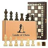 Amazinggirl Schachspiel Schach Holz Schachbrett mit Dame Spiel - 2 in 1 Chess Board Set hochwertig...