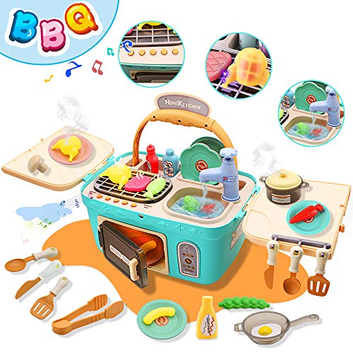 Pussan Kids Kitchen Set for Girls Toddler Kids Kitchen Playset Toy for 38 Years Old Kids Gifts Play Kitchen Picnic Basket Toys Color Changing Play Food with Music Lights Pretend Toy Play Oven