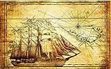 FanxiMo Tapeten,Wandbild,Dekoration Art Poster, Ursprüngliche alte Karten-Hintergrund-nautischwand