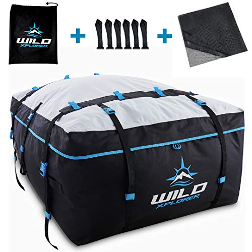 Rooftop Cargo Carrier Roof Bag XXL - 19 Cubic Feet Waterproof Car Top Carrier | Car Roof Cargo Carrier Works with OR Without Car Roof Rack - Rooftop Cargo Bag for Camping, Ski Trips and Vacations