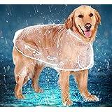 かわいい犬のレインコート透明な屋外レインコート - の小さな中型および大型犬用XS-6XL(XL)