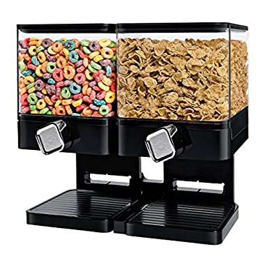 Zevro KCH-06134 Compact Dry Food Dispenser, Dual Control, Black/Chrome