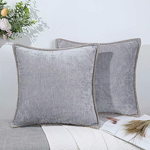 Set di 2 federe per cuscino decorativo in ciniglia, per divano, soggiorno, grigio, 55 x 55 cm, imbottitura non inclusa nella confezione