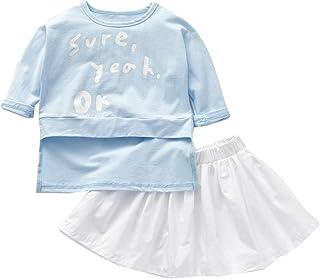 Teen Girl's Two-Piece Set Short Sleeve Preppy Colorblock T-Shirt Skirt Suit