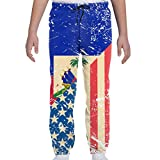 American and Haiti Retro Flag Boys Girls Fleece Joggers Pants Novelty Youth Sweatpants Trousers with Pockets White