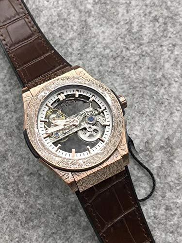 GFDSA Automatische horloges Luxe merk Heren rose goud bruin zwart bruin lederen horloge Klassieke gesneden kast Automatische mechanische saffier horloges Waterdicht