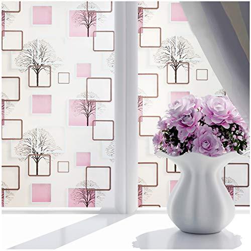 DBAILY 3D Vinilo Ventanas Pegatina Translúcida, Vinilos para Ventanas Privacidad no Adhesiva Cristal Pelicula Decorativa Electrostática Color Decoración para el Baño del Dormitorio(45 * 300cm)