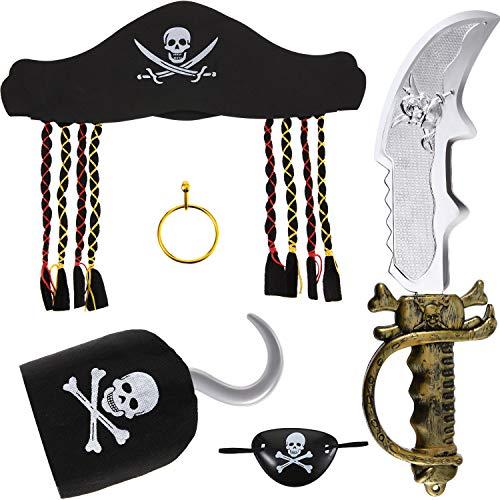 Syhood 5 Pezzi Set di Accessori Costume Pirata Halloween Include Cappello Pirata con Dreadlock, Gancio Pirata, Spada Pirata, Orecchino in Oro di Plastica e Patch per Occhi