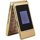 Oumij Téléphone à Clapet -Téléphone Portable en Métal - Double Carte Double Veille - Double Écran - Écran Intérieur 3,0 Pouces + Écran Externe 1,44 Pouce - Batterie 6800mah (Or 100-240V)(Prise EU)