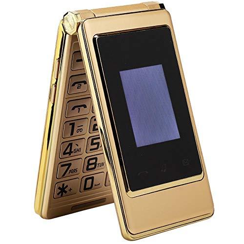 Teléfono Móvil Con Tapa - Celular Metal - Doble Tarjeta Doble Modo de Espera - Pantalla Doble - Pantalla Interna 3.0 Pulgadas + Pantalla Externa 1.44 Pulgadas - Batería 6800mah (Oro)(Enchufe de la UE)