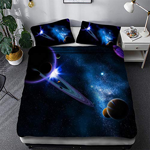 Timiany Ropa De Cama 3D Galaxy Microfibra Edredón 155 × 200 Juego De Cama 3 Piezas, Fundas Nórdicas con Cremallera Y 2 Fundas De Almohada 50x75cm (Espacio Exterior,135x200+50x75)
