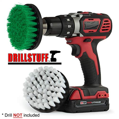 Drillstuff 4In 2 stuks Quick Change, Soft & Medium Drillbrush groen wit