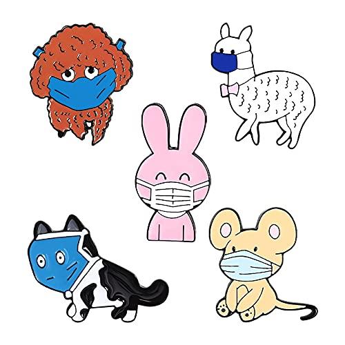 Juego de 5 broches de solapa esmaltados con diseño de animales y ratón, para mochilas, bolsos, chaquetas, sombreros, joyas, accesorios de bricolaje