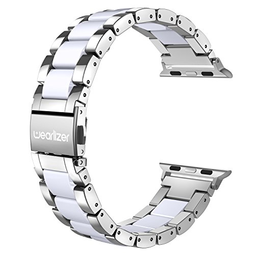 Wearlizer Silver Compatible with Apple Watch Band 38mm 40mm for iWatch Fashion Womens Mens Stainless Steel Strap White Resin Wristband Replacement Bracelet Metal Clasp Series 5 4 3 2 1 Sport Edition