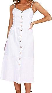 Vestido sin Mangas con Hombros Descubiertos y Botones Estampados Hermosos Moda Fiesta de Playa Vestido de Princesa Bohemia