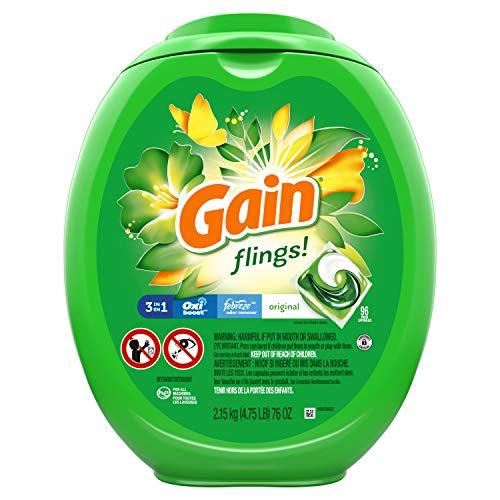 Gain flings! Laundry Detergent Pacs Plus Aroma Boost, Original Scent, HE Compatible,...