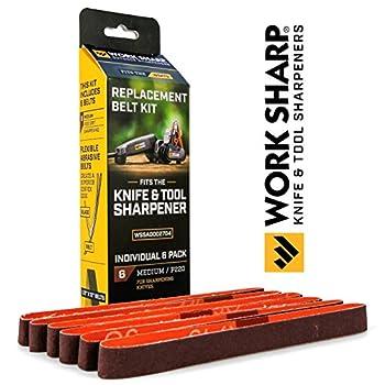 Kit de courroies grain moyen Work Sharp - WSSA0002704 Kit de courroies d'affûteur de couteaux et d'outils - Abrasifs à l'oxyde de céramique de qualité supérieure pour les applications d'affûtage