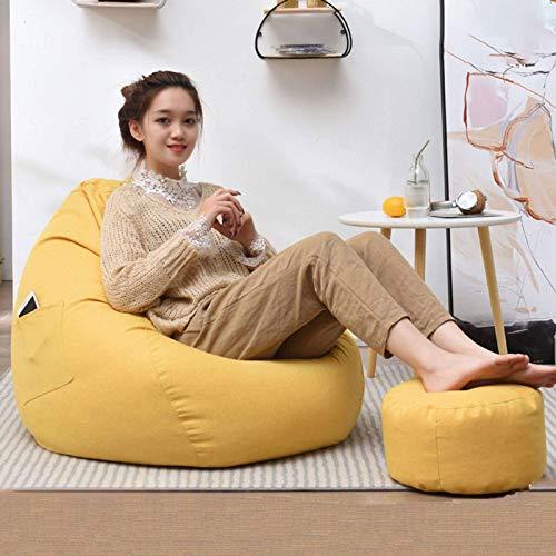 JHLD Sitzsack Stühle Sofabezug, Ohne Füllung Liege Sitzsack Baumwolle Und Leinen Sitzsack Bezug Mit Gefüttert Abnehmbare Waschbar Für Outdoor Salon-Gelb-X-Large