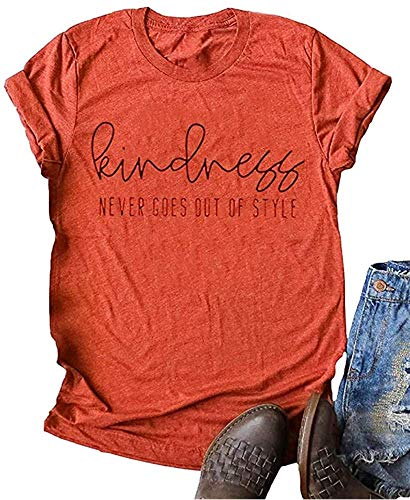 Woffccrd Womens Kind People are My Kinda People Graphic Tees Funny Letter Printed T Shirts Summer Short Sleeve Tops (S, Wine Red)