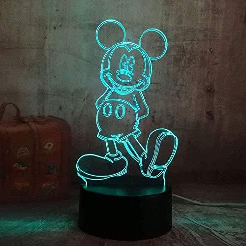 3D Lámpara ilusión USB 7 color dibujos animados lindo Mickey Mouse luz de noche Led novedad de mesa de escritorio cumpleaños regalo de Navidad para niños decoración del hogar