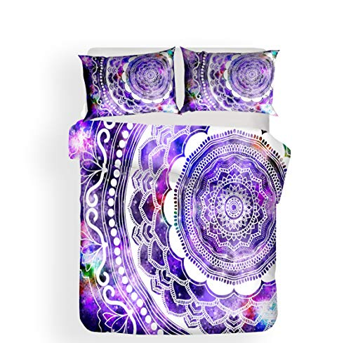 WFBZ Duvet Cover and Pillow Case with Zip Soft and Comfortable 3-Piece 3D Home Textiles Bedding New Mandala Pattern 3 Pieces, 02, 200 x 200 cm