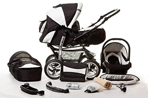 Kombi Kinderwagen Travel System Kamel 3in1 schwarz-weiss + Babyschale Autositz 0-10kg Kinderwagen Buggy Stroller Poussette