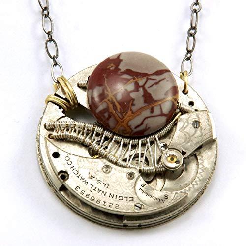 Steampunk Necklace - Noreena Jasper and Vintage Antique Pocket Watch Mechanism Movement - Elgin