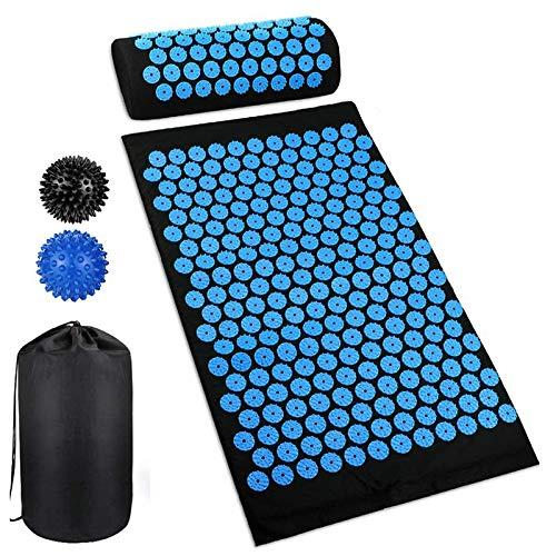 Akupressurmatte,Akupressur-Set mit Kopfkissen und 2pcs Stachelig Massagebälle Tragetasche für Schmerzlinderung und Muskel Entspannung 68x42cm
