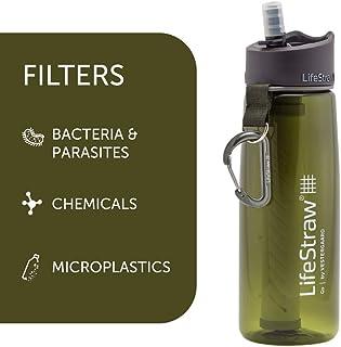 LifeStraw Botella de filtro de agua Go con 2 etapas de filtro integrado para senderismo, mochila y viajes
