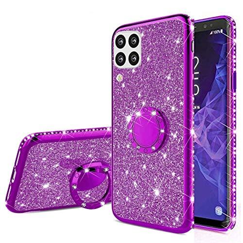 Nadoli Glitzer Hülle für Huawei P40 Lite,Kristall Diamant Strass Bumper mit 360 Ring Kickstand Silikon Schutzhülle Handyhülle Frauen Mädchen für Huawei P40 Lite,Lila