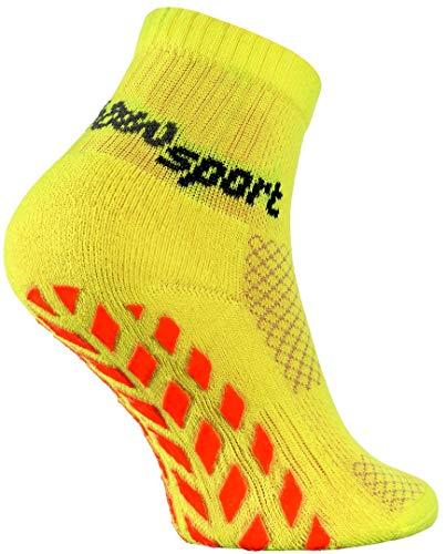 Rainbow Socks Rainbow Socks - Jungen Mädchen Neon Sneaker Sport Stoppersocken - 1 Paar - Gelb - Größen 24-29