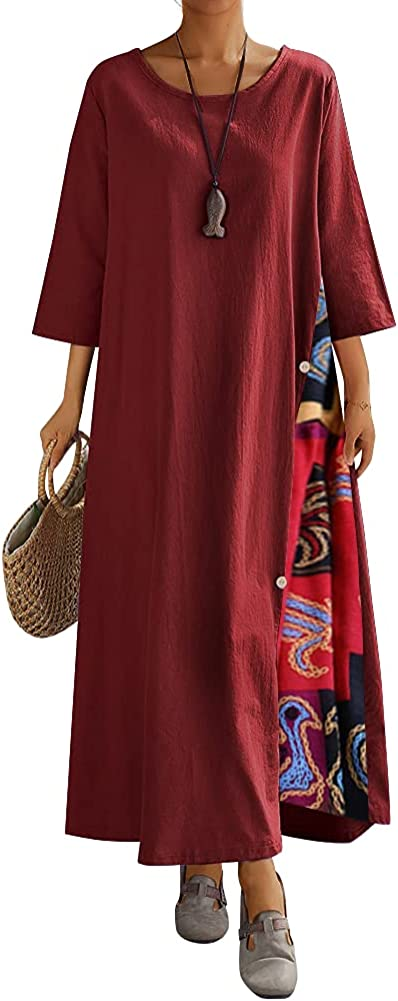 flashclash Womens Maxi Dresses Plus Size Linen 3/4 Sleeve Casual A Line Long Caftan Floral Dress for Women