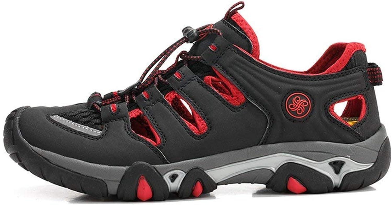 Qiusa Men Casual Sandals Breathable Lightweight Mesh Summer Men shoes (color   Black red, Size   10=45 EU)