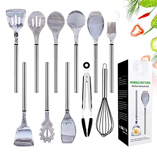 Silicone Cooking Utensil Set,Kitchen Utensils 11 Pcs Cooking Utensils Set,Non-stick Heat Resistant Silicone,Cookware with Stainless Steel Handle - Marble