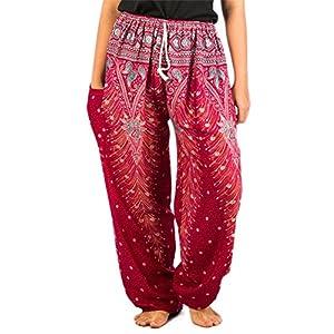 Lofbaz Mujer Pantalones Harem Boho del Lazo del Pavo Real Flaral Funky | DeHippies.com