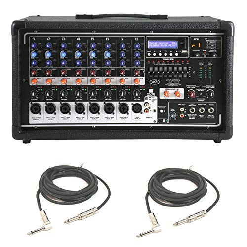 """Peavey Pvi 8500 Pro Audio 8 Channel Powered 400W Mixer (2) 1/4"""" Speaker Cables"""